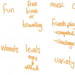 student criteria: computer games